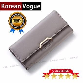 Korean Vogue LW-004 Ladies High Quality Long Section Three FoldedWoman Handbag Wallet (Grey)
