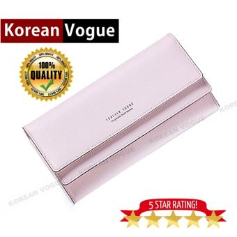 Korean Vogue LW-007 Ladies High Quality Long Section Three FoldedWoman Handbag Wallet (Pink)