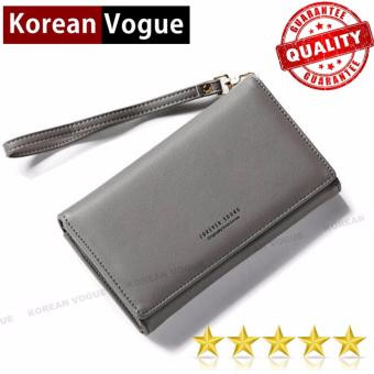 Korean Vogue LW-009 Ladies High Quality Long Section Three Folded Woman Handbag Wallet (Grey)
