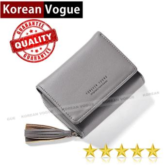 Korean Vogue SW-006 Ladies High Quality Tassel Zipper Multi-function Short Section 3 Folded Hand Bag Women Wallet Card Holder (Grey)