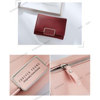 Korean Vogue SW-008 Ladies High Quality Exquisite Multi-functionShort Section 3 Folded Hand Bag Women Wallet Card Holder (Burgundy) - 5