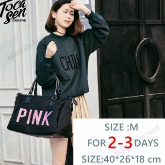 Korean Vogue TB-001 Premium Quality Women PINK 2 Ways Tote Bag Series Ladies Travel Handbag Shoulder Bag(Medium) - 5