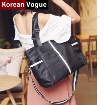 Korean Vogue TB-002 Premium Quality Women PINK 3 Ways Tote BagSeries Ladies Travel Handbag Shoulder Bag(Black/White)