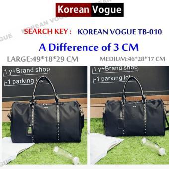 Korean Vogue TB-010 Premium Quality Unisex Large Capacity Rivet Style Tote Bag Series Ladies Travel Gym Sport Handbag Shoulder Bag(Black-Medium) - 3