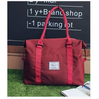 Korean Vogue TB-016 Premium Quality Unisex Tote Bag Series Travel Handbag Shoulder Bag (Burgundy)