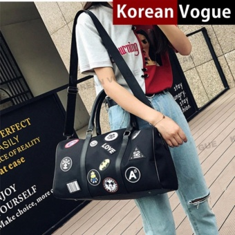 Korean Vogue TB-018 Premium Quality Unisex Fashion Badge Large Capacity Double Arrow Tote Bag Series Ladies Travel Gym Sport Handbag Shoulder Bag(Black)
