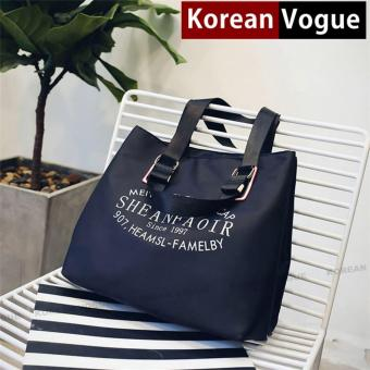 Korean Vogue TB-023 Premium Quality Waterproof Nylon Fashion Letters Large Capacity Tote Bag Series Ladies Travel Shopping Sport Gym Handbag Shoulder Bag(Black)