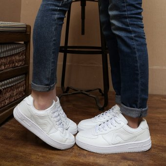Korean white shoes shoes low for single men and women studentsround flat shoes lace up shoes tide Lovers - intl