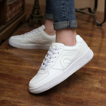 Korean white shoes shoes low for single men and women studentsround flat shoes lace up shoes tide Lovers - intl - 2