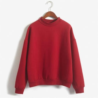 Korean Women Hoodies Sweatshirt Casual Sports Sweatshirt Pullover Candy Pullovers(Red) - intl