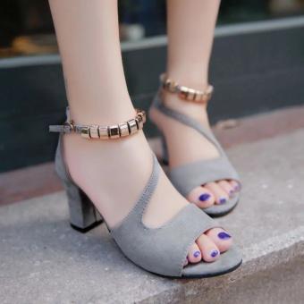 Krecoo Summer Ladies Soft Leather Casual Heel Sandals-Grey - intl - 2