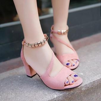 Krecoo Summer Ladies Soft Leather Casual Heel Sandals-Grey - intl - 5