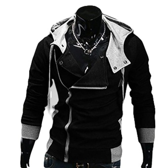 Kuhong explosion of Assassin s Creed sweater oblique zipper hooded jacket Black - intl