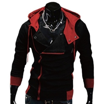 Kuhong explosion of Assassin s Creed sweater oblique zipper hoodedjacket Black&Red - intl