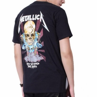 Kuhong Justin Bieber Metallica T Shirt Black Cotton T-Shirt Fear Of God Rock Star Swag Tyga Tops Black - intl - 4