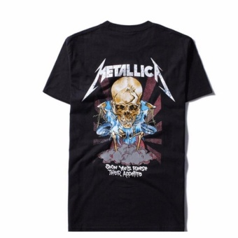 Kuhong Justin Bieber Metallica T Shirt Black Cotton T-Shirt Fear Of God Rock Star Swag Tyga Tops Black - intl - 3