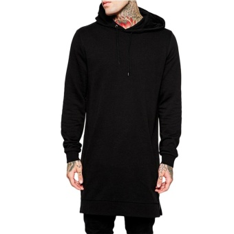 Kuhong Long Sleeve Long Sweater Side With zipper Men's Sport Hoodies (Black) - intl