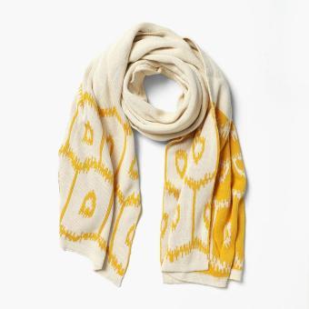 Kultura Ikat Knit Shawl (Yellow)