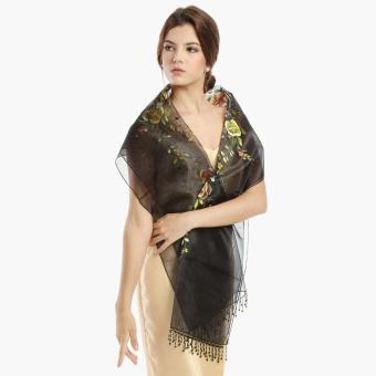 Kultura Raffaella Ladies Organza Shawl (Black)
