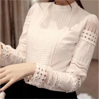lace blouse shirt Splice plus sizes women tops blusas femininaslong sleeve Office Shirts Cotton plus size white blouse 5XL - intl