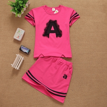 Lace flower word girls Korean-style dress children's clothing (Rose color) (Rose color)