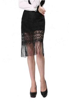 Lace Tassel Skirt (Black) - picture 2