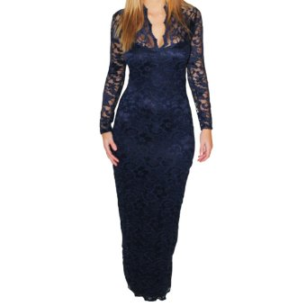 Lace Women Maxi Dress Long Sleeve