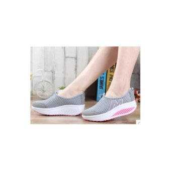 Ladies fashion wedge casual shoes gray - intl