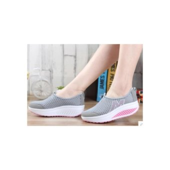 Ladies fashion wedge casual shoes gray - intl - 5