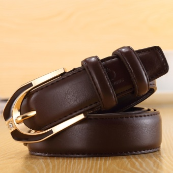 Ladies Genuine Leather Pin Buckle Belt Fashion Ladies Candy ColorCasual Belt (Coffee) - intl