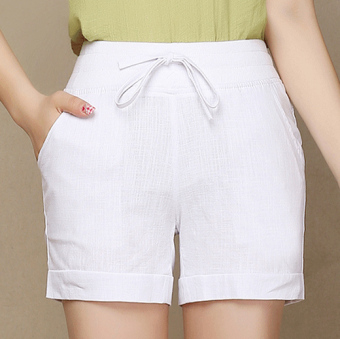 Ladies Leisure Candy Color Elastic Waist Linen Shorts (White)(Intl)