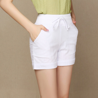 Ladies Leisure Candy Color Elastic Waist Linen Shorts (White)(Intl) - 2