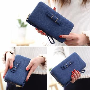 Ladies Long Bowknot Flap Bag PU Leather Wallet Phone BoxClutch Bag Women High Capacity Handbag Cute Coins PurseMultiple Card Holder (Blue) - intl - 2