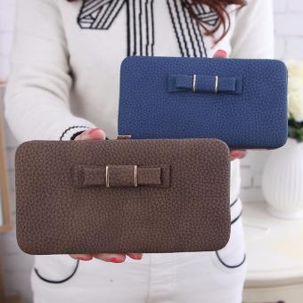 Ladies Long Bowknot Flap Bag PU Leather Wallet Phone BoxClutch Bag Women High Capacity Handbag Cute Coins PurseMultiple Card Holder (Blue) - intl - 4
