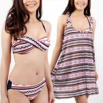 Ladies Nautical Stripe Bikini Swimsuit Swimwear With Dress Cover Up