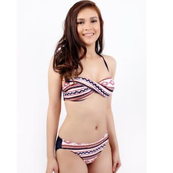 Ladies Nautical Stripe Bikini Swimsuit Swimwear With Dress Cover Up - 2