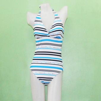 Ladies Swimsuit Swimwear Stripe One Piece