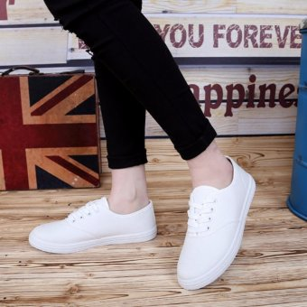 Ladies White Canvas Sneakers with Lace - White