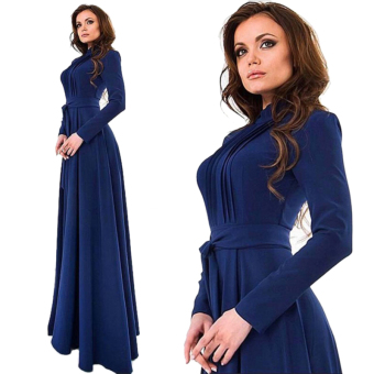Ladies Women Round Neck Long-sleeved Waist Jumpsuit Dress (Blue)