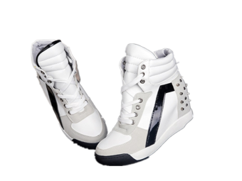 Ladies Women's Fashion Wedge Sneakers Hidding Heels Black WhiteTennis Shoes - intl