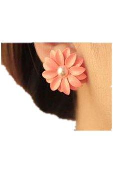 Lady Lovely Daisy Flower Pearl Stud Earrings Ornament Decoration
