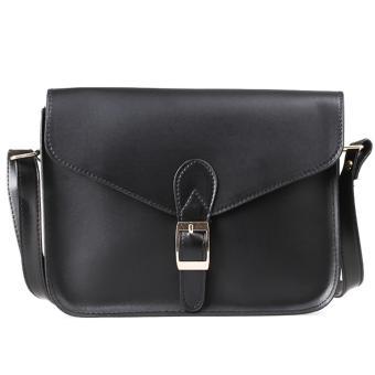 Lady Shoulder Crossbody Handbag PU Leather (Black)