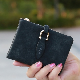 Lady Snap Fastener Short Clutch Wallet Vintage Matte Women Wallet Fashion Small Female Purse short Coin Card Holder Black - intl