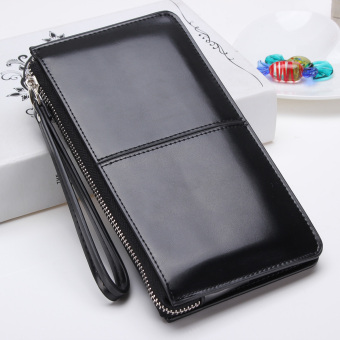 Lady Women Clutch Long Coin Purse Leather Wallet Card HolderHandbagBag Black