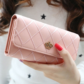 Lady Women Clutch Long Purse Leather Wallet Card Holder HandbagBags Pink