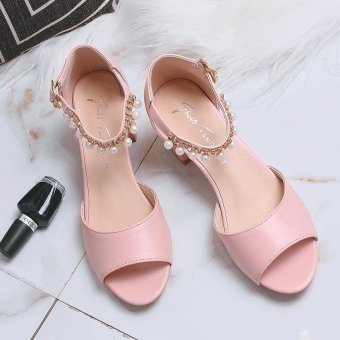Lady's Heeled Sandals Summer Women's Shoes Block Heels Peep Toe Pearl Ankle Straps Elegant Korean Color Pink - intl - 5