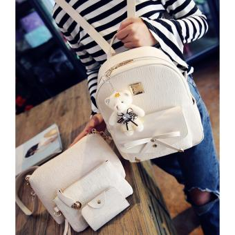Lady's teddy bear four-piece backpack(white) Price Philippines
