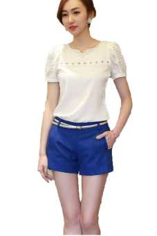 Lalang Chiffon T-Shirt Lace Short-Sleeve Casual Blouses White Price Philippines