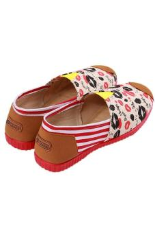 LALANG Fashion Canvas Shoes Lips Printed Casual Sneakers Red - picture 2
