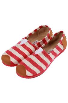 LALANG Fashion Canvas Shoes Striped Printed Casual Sneakers Red - picture 2